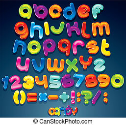 Multicolored Shiny Vector Font, available all letters, numbers and orthographic symbols