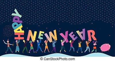 Fun little people bringing huge letters, festive vector illustration