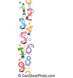 Vector fun numbers vertical seamless pattern background ornament with hand drawn elements.