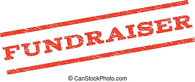 Fundraiser watermark stamp. Text caption between parallel lines with grunge design style. Rubber seal stamp with dirty texture. Vector red color ink imprint on a white background.
