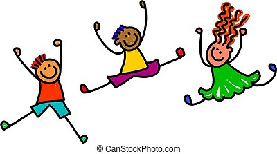 Whimsical cartoon illustration of three happy and lively kids playing together.