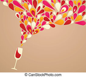 Funky colorful retro wine background