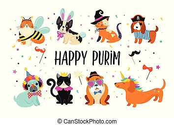 Funny animals, pets. Cute dogs and cats with a colorful carnival costumes, vector illustration, Happy Purim banner