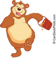funny bear cartoon with honey