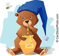 Funny bear with honey