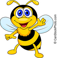 Vector illustration of funny bee cartoon waving