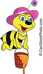Funny bee cartoon with honey bucket