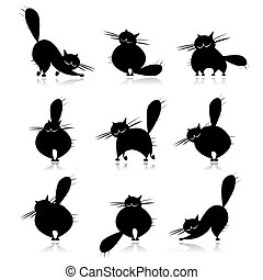 Funny black fat cats silhouettes for your design