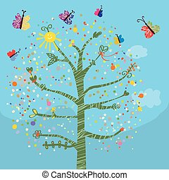Funny card with tree and butterflies for kids