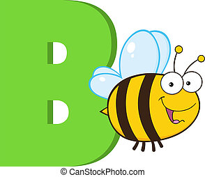 Cartoon Alphabet-B With Bee