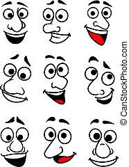 Funny cartoon faces set