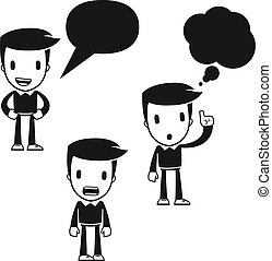 funny cartoon helper man in various poses for use in advertising, presentations, brochures, blogs, documents and forms, etc.