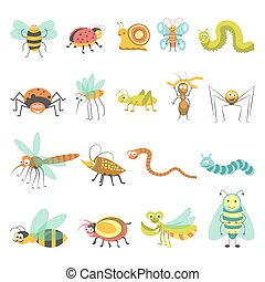 Funny cartoon insects and bugs vector isolated icons