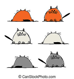 Funny cats, sketch for your design
