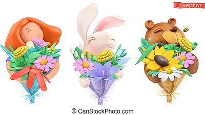 Funny characters with bouquet of flowers. Girl, easter bunny, bear. Plasticine art objects. 3d vector icon set