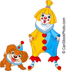 Funny Clown Girl and Clown Dog