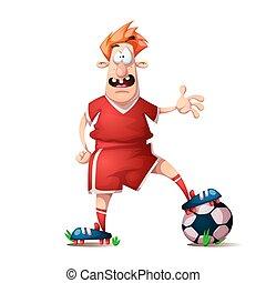 Funny, cute cartoon football player.