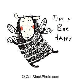 Funny cute sheep bee happy card