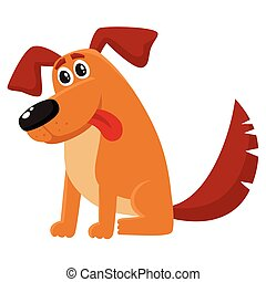Funny dog, puppy character sitting with tongue out