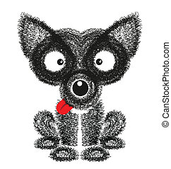 Funny dog vector on white background