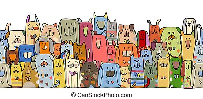 Funny dogs family, seamless pattern for your design. Vector illustration
