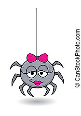 funny female spider cartoon - Halloween vector illustration