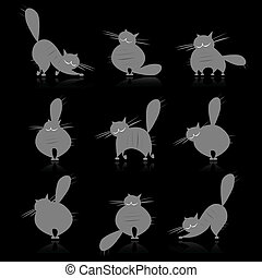 Funny grey fat cats silhouettes for your design