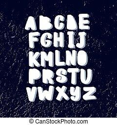Funny hand drawn childish alphabet in scandinavian style.