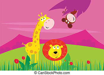 Cute jungle animals - yellow giraffe, funny tigger and little monkey behind palm leaf. Background with mountains and grass in behind animals. Vector Illustration.