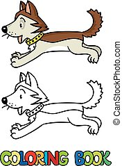 Funny little husky dog. Coloring book