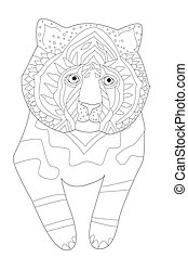 funny little tiger for your coloring book