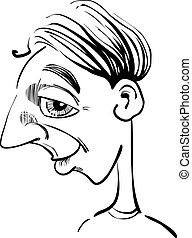 Caricature illustration of funny man