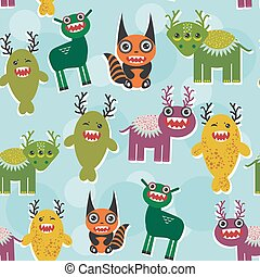 Funny monsters Set. seamless pattern on blue background. Vector