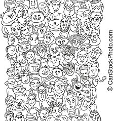 Crowd of funny people faces, bubble shape people, seamless background for your design