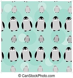 Funny Penguins on blue background seamless pattern. vector