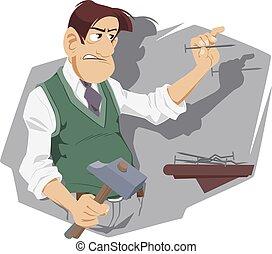 Angry man nailing. Household chores.