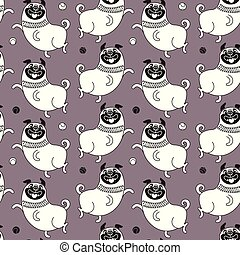 Funny pugs seamless pattern. Vector background with a joyful dog for design