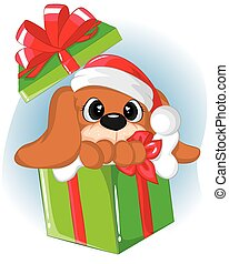 funny puppy in the gift boxes. Getting christmas card.