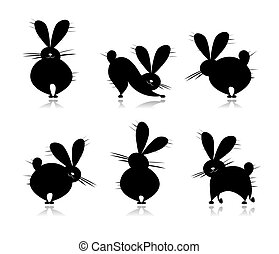 Funny rabbit's silhouettes for your design
