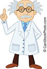 Funny scientist cartoon character