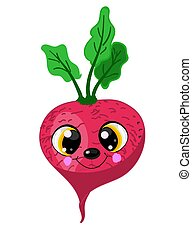 Funny smiling beet, radish character for your design.