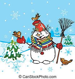 Funny Snowman Scene, editable vector illustration
