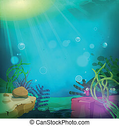 Illustration of a cartoon funny submarine ocean landscape with aquatic plants, cute fishes characters and sea wildlife