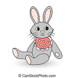 Funny toy hare. Vector illustration for your design.