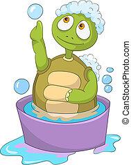 Funny Turtle. Baby Washing