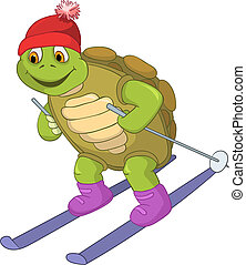 Cartoon Character Funny Turtle Isolated on White Background. Skiing. Vector EPS 10.
