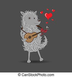 Funny white cartoon fluffy dog playing a guitar singing about love