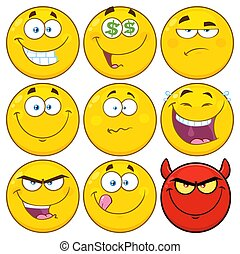 Funny Yellow Cartoon Emoji Face Characters Set 2. Collection