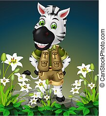 Funny Zebra On the Rock With White Flower Cartoon