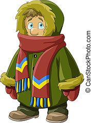A boy in a fur coat, vector